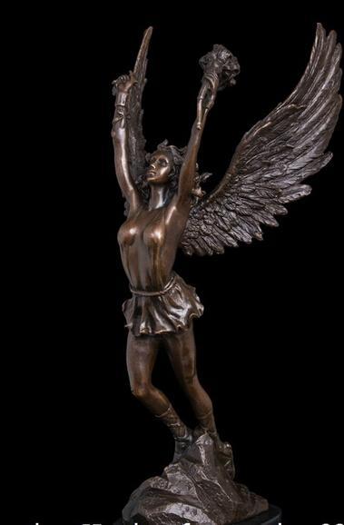 shitou 003148 Abstrakte Kunst Skulptur Bronze Kupfer Marmor Basis Victory Angel Statue Figurine