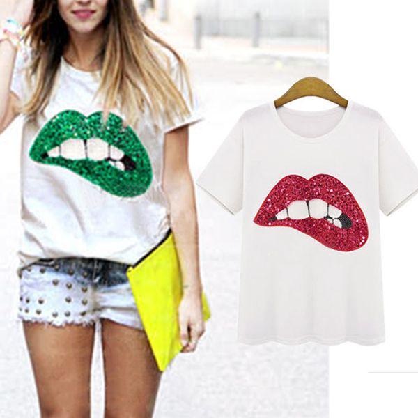 top popular New Casual T-shirt Vestidos Printed Red Lips Green Lips Girls's Women's T-shirts Summer Short Sleeve Loose Top Tee Shirt 2021