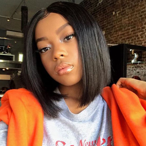 best selling Peruvian Bob Straight Full Lace Wigs for Black Women Virgin Human Hair Lace Wigs 150% Density Natural Color Medium Cap with Combs Bellahair