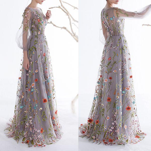 bridalmall / Dobelove mulheres mangas compridas vestidos de baile 2019 moda floral bordado a linha de vestidos de noite formal vestidos de festa vestido pageant