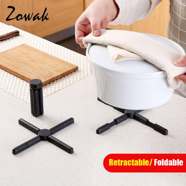 Atacado-dobrável resistente ao calor Hot Pot Titular retrátil Trivet Mat ABS Almofadas de mesa de plástico Prato Secar tapete para Home Kitchen Bag Pad