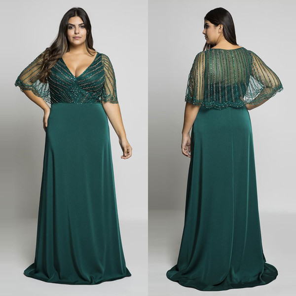Hunter Green Beading Plus Size Prom Dresses V Neck Evening Gowns With Wrap  A Line Floor Length Long Formal Dress Plus Size Pink Dress Plus Size Shop  ...