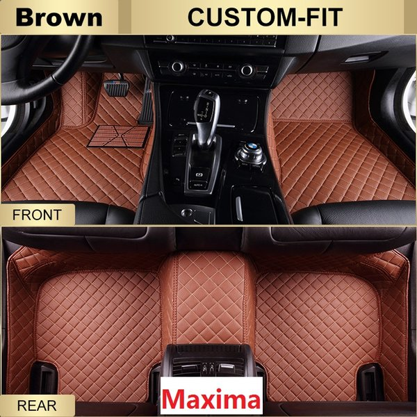 SCOT All Weather Leather Car Floor Mats for Nissan Maxima,Waterproof Anti-slip 3D Front & Rear Carpets Custom Fits Right-Hand-Driver-Model