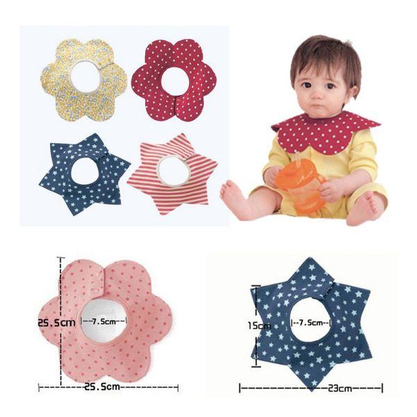 Wholesale- Baby Bibs Cotton Flower Star Babador Four Layer Waterproof Slobber Towel Baby Bib Swivel Snap Octagonal Circular Rice Bag