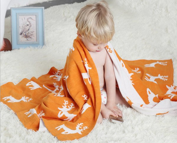 New children blanket bath towel cartoon deer pure cotton knitted Throw blanket natural breathable soft summer air conditioning blanket