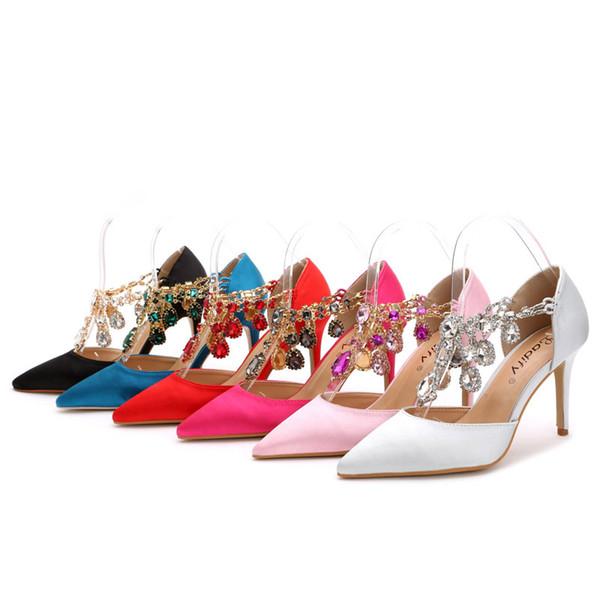 2017 Silk Homecoming Prom Party Scarpe per la signora nero argento rosa rosso fucsia tacco alto strass nozze scarpe da sposa taglia piccola plus size