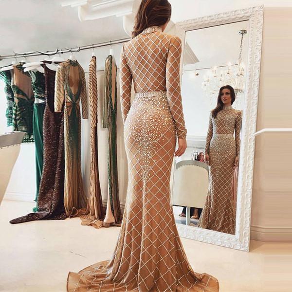 Long Sleeve Evening Dresses Full Crystal Beaded Evening Gown Luxurious Fishtail High Neck Dubai Evening Wear Formal Party Dress For Women