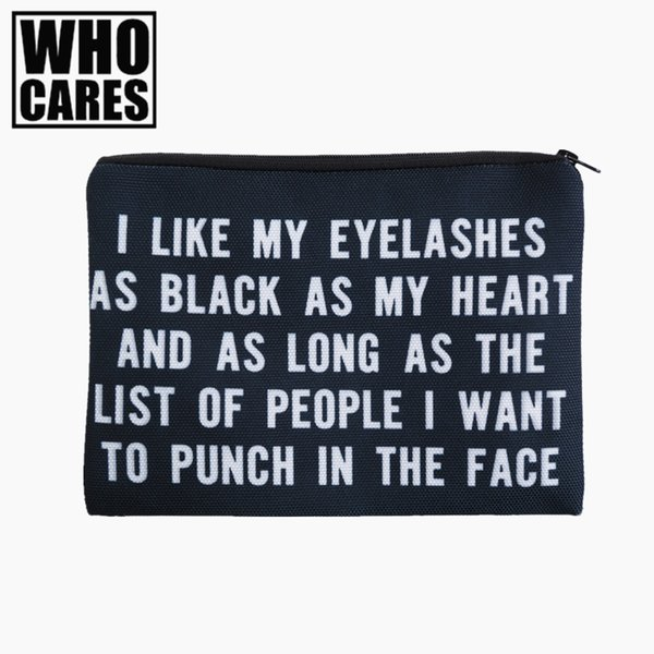 Wholesale- EYELASHES 3D Printing simple makeup bag 2017 who cares Cosmetic case women trousse de maquillage neceser organizer pencil case