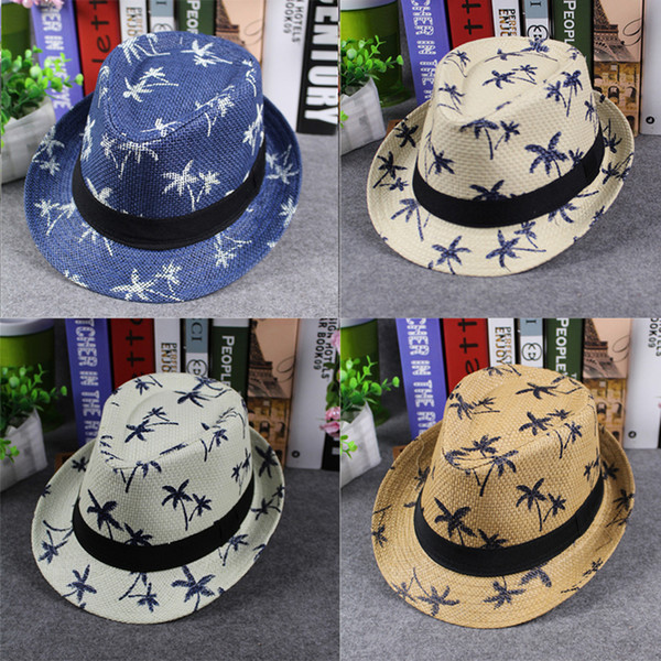 Men Women Children Stingy Brim Top Hats Summer Straw Fedora Hat Maple Leaf Printing Boys Girls Adult Kids Sun Hat Jazz Cap GH-60
