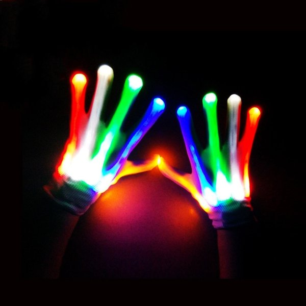 LED gloves for Kids children Party Christmas Hallowmas Cosplay glowing gloves free shipping A-0479
