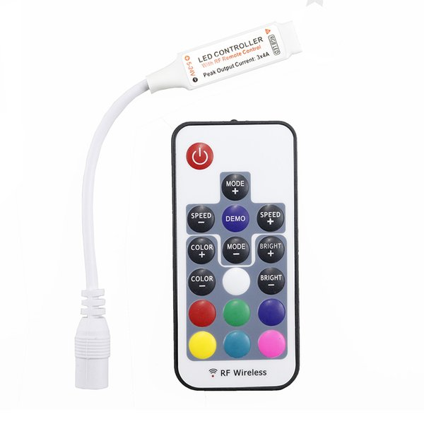 DC 12-24v led strip and module use 17 key mini rf wireless led rgb remote controller with 4pin female FREE SHIPPING