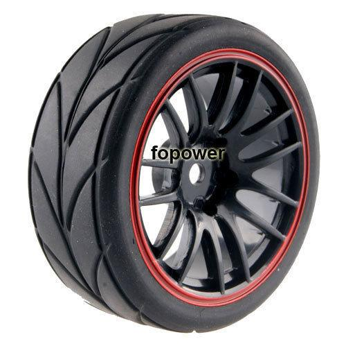 4pcs RC Flat Racing Tires Tyre Wheel Rim Fit HSP HPI 1:10 On-Road Car 9068-6081