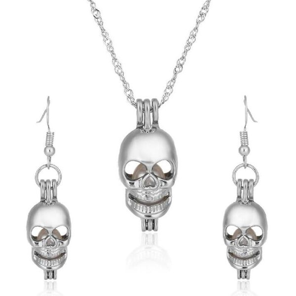 Love Wish Pearl Skull Cages Locket Earrings & Necklace Freshwater Pearls Oyster Pendant(Excluding Pearl Canned)Halloween Christmas Jewelry