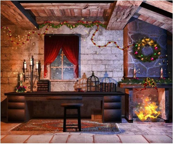 Indoor House Fireplace Garland Christmas Photography Backdrops Brick Wall Red Curtain Window Candles Holiday Night Photo Booth Background