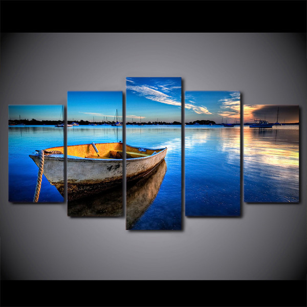 5 Pcs/Set HD Printed Floating Boat Nature Lake Wall Canvas Modern Framed Painting Poster Picture Hang Artworks