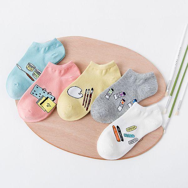 FUJI New Fashion Cute Socks Womens Cotton Ankle Low Cut Sox Cartoon Socks Invisible Sock Slippers