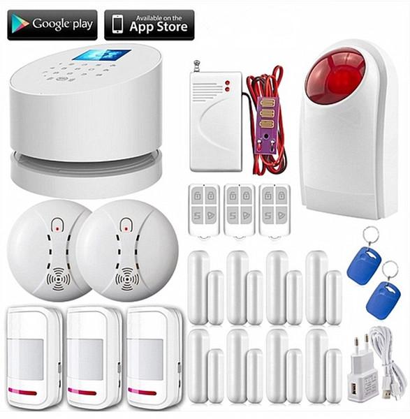 LS111- APP WiFi GSM PSTN telefono tre rete di sicurezza domestica sistema di allarme di sicurezza + 3 motion pir + 8 porta / finestra sensore + sirena strobe all'aperto