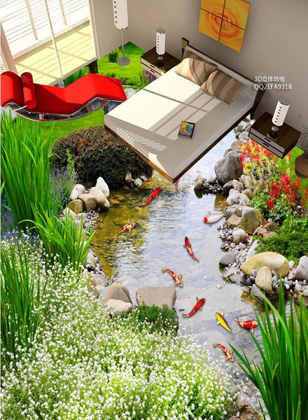 плитка для ванной на заказ обои пейзажи для стен парка Каменный Ручей карпа 3D полы обои для кровать 3D картина пол