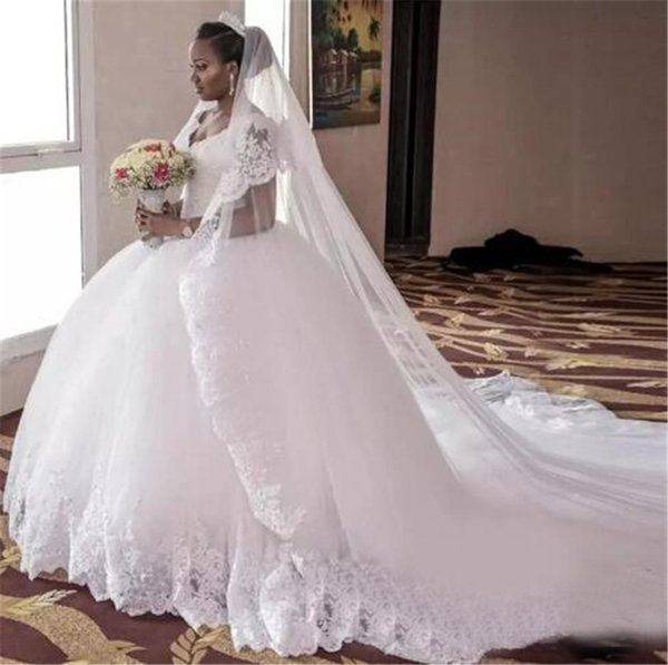 Long Cheap V Neck Applique Beaded Chapel Train Bridal Gowns Modest New Arrivals Tulle And Lace Ball Gown Wedding Dresses Plus Size