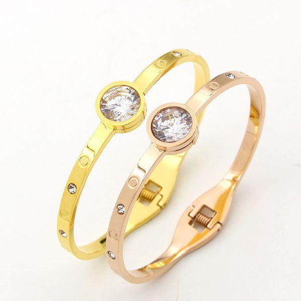 Mode Argent Strass Manchette Bracelets Bracelets Pour Femmes Marque Designer en acier inoxydable Bijoux Valentine Cadeau