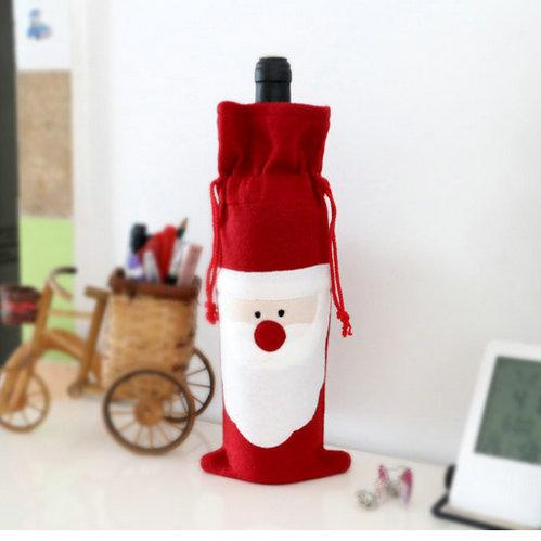 retail Hot sale Christmas gift bag Merry Xmas Santa Claus Wine Bottle Cover Christmas Dinner Party Table Decor Red free shipping
