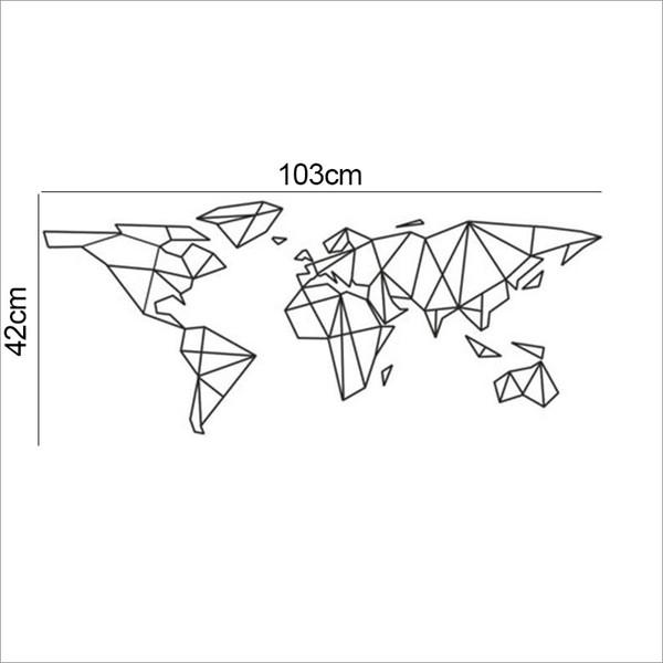 Acheter Creative Géométrique Carte Du Monde Vinyle Mur Décalque Décor à La Maison Salon Chambre Art Papier Peint Amovible Stickers Muraux Bricolage De