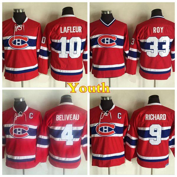 Jugend Montreal Canadiens Vintage 4 Jean Beliveau 9 Maurice Richard 10 Guy Lafleur Trikots Kinderheim Rot 33 Patrick Roy Hockey-Trikot