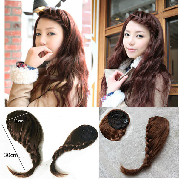 best selling Bohemian women's Clip In braided hair bangs Front bangs synthetic hair pieces four colors 1pc lot drop shipping