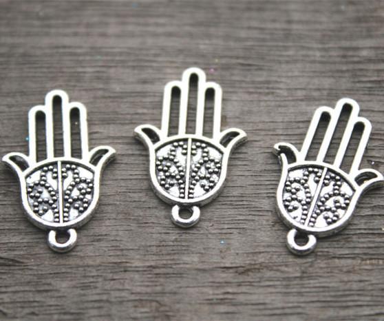 20pcs - Antique Tibetano prata Hamsa mão encantos pingente, encantos de Hamsa 16x25mm