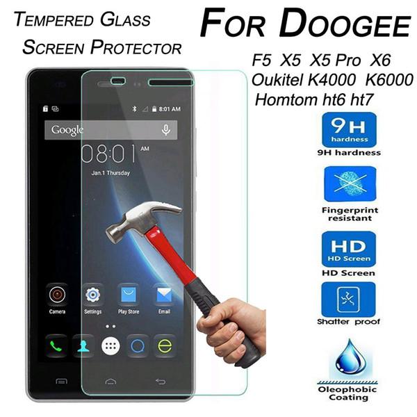 Wholesale-9H Hartglas Displayschutzfolie für Doogee F5 X5 X5 Pro X6 Oukitel K6000 K4000 Homtom Ht6 Ht7 Ht3 Pro Schutzfolie