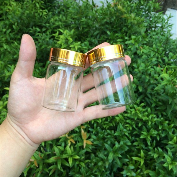 47*70*34mm 80ml Glass Bottles Gold Screw Cap Empty Jars Glass Bottles For Food Spice Liquid Candy Jars 24pcs Free Shipping