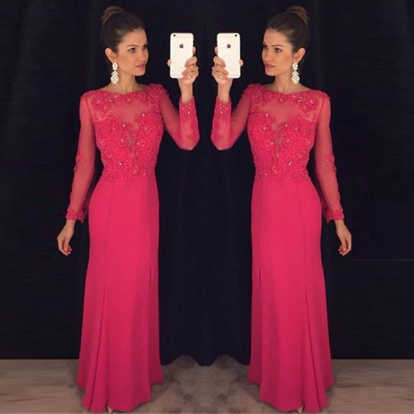 Long Sleeves Lace Appliques Beaded Prom Dress Chiffon Floor Length A Line Evening Party Gowns Bridesmaid Dresses