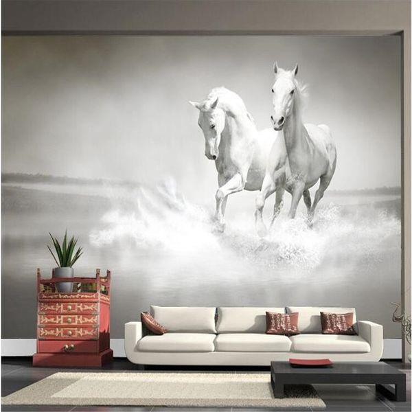 Al por mayor-foto fondo de pantalla Caballo Caballo Blanco gran mural Continental pared de la espalda sofá dormitorio TV telón de fondo 3d mural papel de pared sala de estar