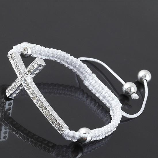 Free Shipping Clear Crystal Curve Side Ways Silver Plated Cross Connector Macrame Adjustable Bracelet Jewelry