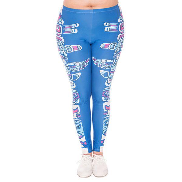 Lady Leggings Totem Blue 3D Print Women Skinny Stretchy Comfortable Yoga Pants Girl Tight Capris Trousers Plus Size Fits L XL XXL (J45761)