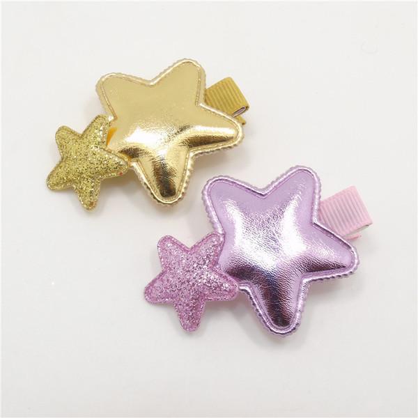 20pcs/lot Shinny Glitter Star Shape Baby Hairpins Gloss PU Hair Clip Kid Cute Shower Sweet Newborn Girl Barrettes Pink Gold Grip