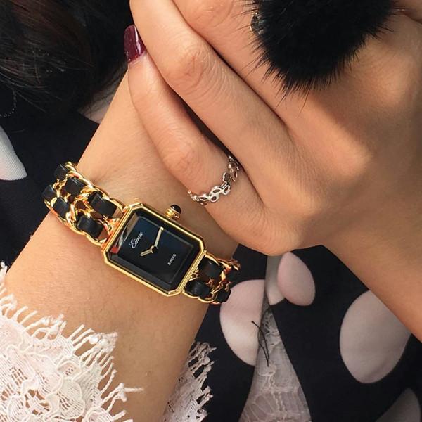 Chegada nova Relógio De Ouro Mulheres Vestido Relógio De Luxo Em Aço Inoxidável Cadeia Com Moda de Couro Senhora Pulseira De Pulso De Quartzo Para Senhora Presente