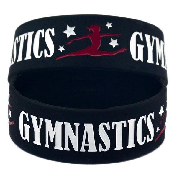 "2pcsSilicone Dancer Wristbands 1"" Wide Gymnastics Sport Silicone Bracelet Fitness Bangles Custom Silicone Wristband"