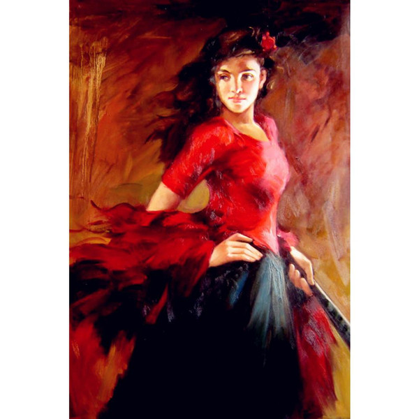 Handmade oil painting Flamenco Spanish Dancer modern woman art for living room decor