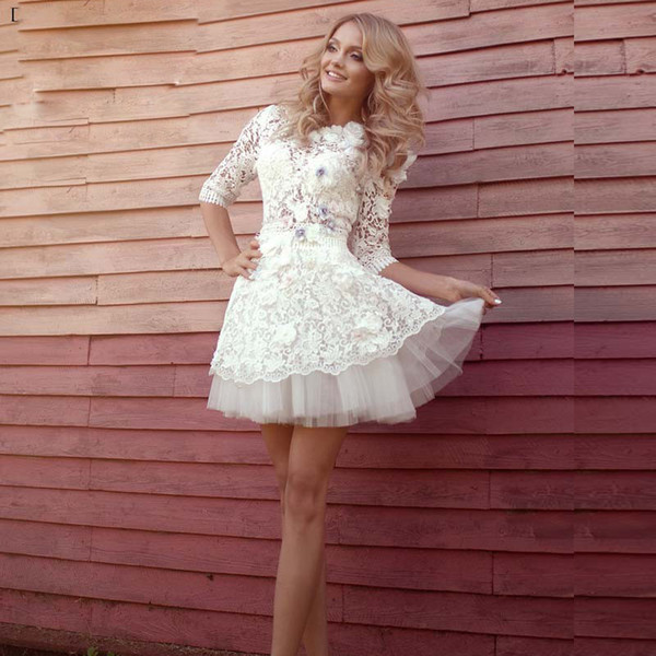White Vintage Lace Half Sleeves Short Wedding Dresses Sheer See Through Romantic Cheap Mini Gowns
