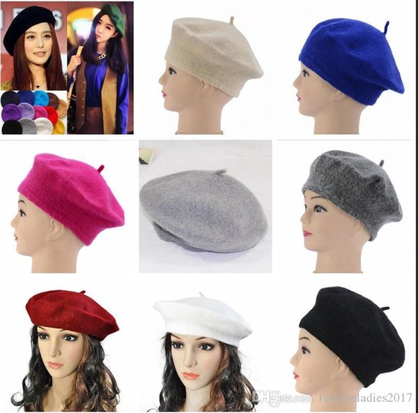 2017 Cheap Fashion New Women Wool Solid Color Beret Female Bonnet Caps Winter All Matched Warm Walking Hat Cap 20 Color