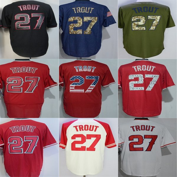 new product 237fc cbbaf Best Los Angeles #27 Mike Trout Jersey 100% Stitched Mens Womens Kids  Toddlers White Red Black Green Blue Baseball Jerseys Shirt Xs 6xl Under  $20.91 | ...