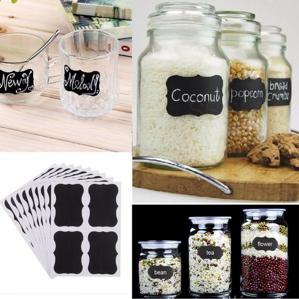 Wholesale- 36pcs Glass Jar Bottle Sticker Kitchen Organizer Labels Chalkboard Blackboard Shape Tag Home DIY Chalk Board Sign Bottle Sticker