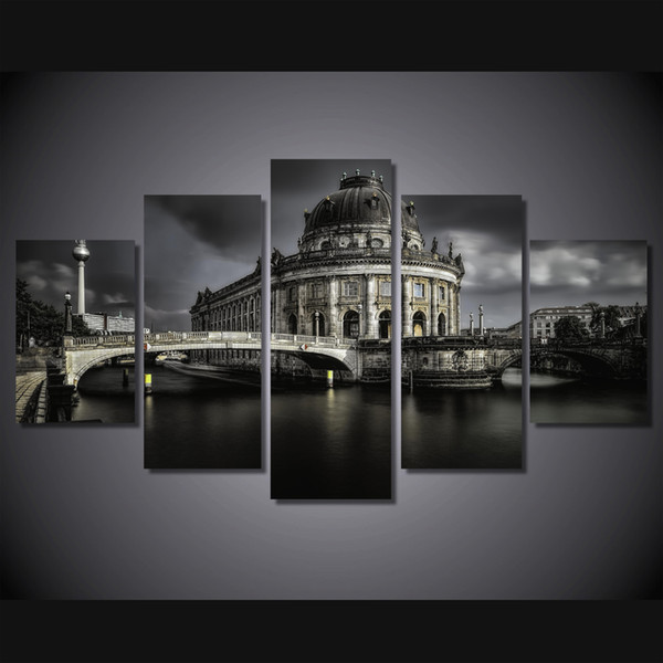 5 Pcs/Set Framed HD Printed Castle Lake Landscape Picture Canvas Poster Picture Print Painting On Canvas Artworks