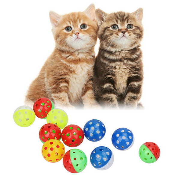 Colourful pet kitten play balls with jingle lightweight bell pounce chase rattle cat toy