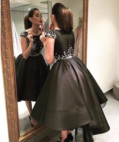 2017 Short Prom Dress Black Capped Sleeve High Low applique star Satin evening Gown homecoming dress Custom Size
