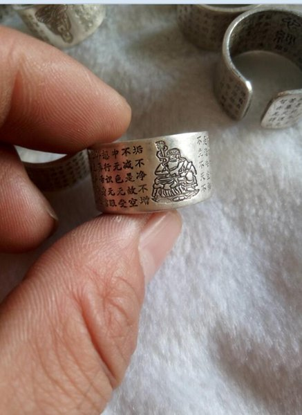 China's Tibet Tibetan silver inscriptions peace ring Free shipping A3