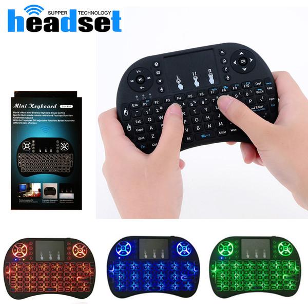 Mini Wireless Keyboard 3 Farbe Backlite 2,4 GHz Englisch Russisch Air Mouse Fernbedienung Touchpad Schwarzlicht für Android TV Box Tablet PC