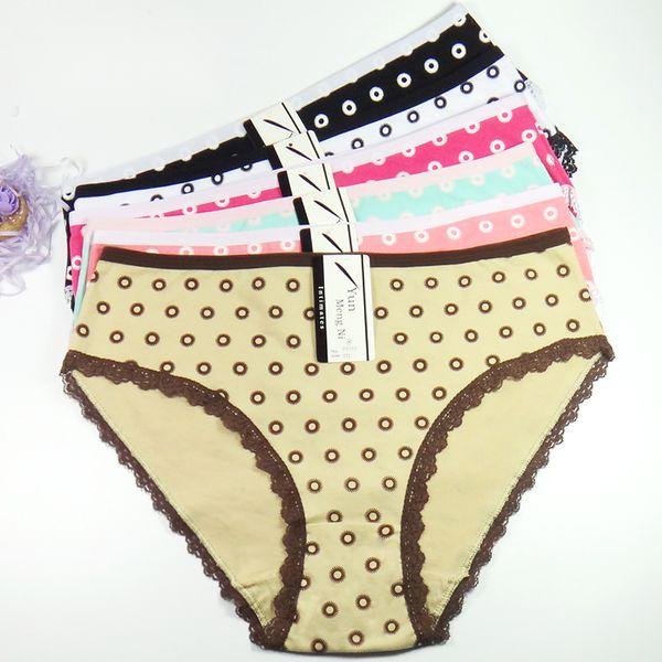 Dot High Waist Lady Short Brief Spandex Cotton Mama Size Panties Big Size Women Underwear Size 2XL-4XL(25.19
