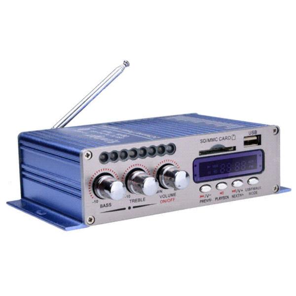 HY502S Amplificatore di potenza per auto Bluetooth Stereo Sound Mode HiFi 2 canali Mini FM Audio + Altoparlante MP3 Player musicale per iPod HY-502S